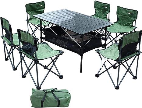 Unau Tavolo Pieghevole E 6 Sedie Per Esterno Da Giardino Portatile Da Picnic In Campeggio Amazon It Giardino E Giardinaggio