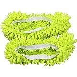 VORCOOL 1 Paar Schuhe Mop Bodenwischer Pantoffel Socken Boden Staub Reinigung Hausschuhe (Grün)