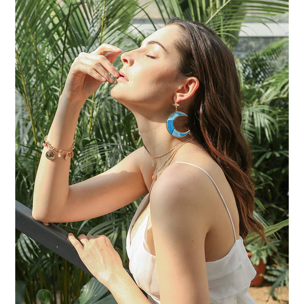 Xinqiao Bohemian Hand-Knitted Earrings Fringe Drop Long Dangling Tiered Thread Lightweight Earrings for Womens Girls