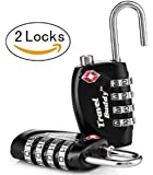 2 x Travel Buddy TSA Security Padlock - 4-dial Combination Travel Suitcase Luggage Bag Code Lock (BLACK) - LIFETIME WARRANTY