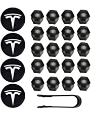 Vonluxsue Tesla Model 3, S & X Aero Wheel Cap Kit (4 Hub Center Cap + 20 Lug Nut Cover) White