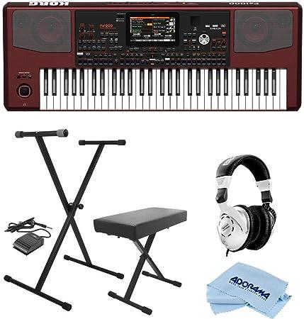 Korg Pa1000 - Teclado profesional, 61 teclas semi ponderadas (C2-C7) - Paquete con soporte para teclado KPK6520 en el escenario con pedal de ...