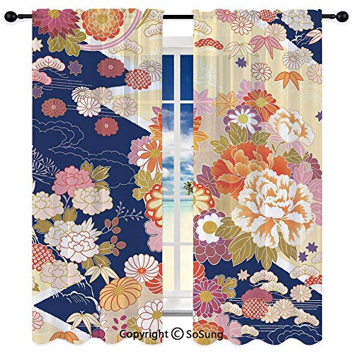 Soft Sheer Curtains Window Voile Panels for Bedroom & Kitchen Set of 2,Traditional Kimono Motifs Composition Asian Ethnic Floral Patterns Vintage Artwork 95
