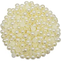 Vardhman 8mm Half Cut Pearls (moti) ,used in Dresses, Jewellery Formation, Scrap Booking, Wedding Trays Making, Arts and Crafts- Set of 200 Beads