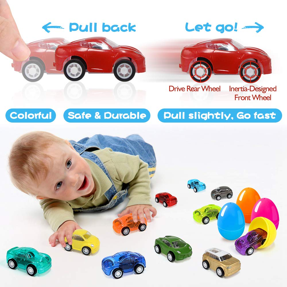 Joinart 16PCS Easter Eggs + 16PCS Pull Back Cars Toy Plastic Easter Egg Fillers Easter Basket Stuffers Mini Car Toys Surprise Eggs Easter Gifts Easter Party Favors for Kids Toddlers Goodie Bag Filler by Joinart (Image #3)