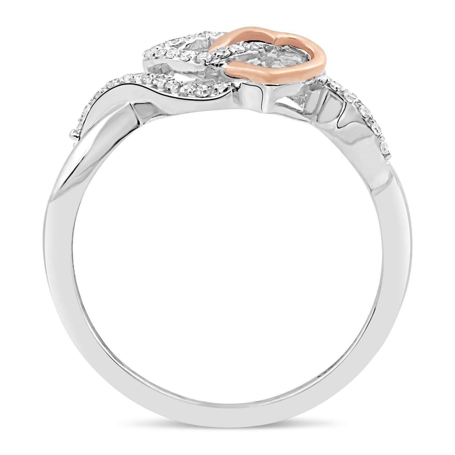 Diamond Promise Ring in Sterling Silver with Intertwined 10k Rose Gold Heart1//10 cttw