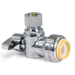 Pushlock UPASC1238 1/4 Turn Angle Stop Valve Water Shut Off 1/2 Push x 3/8 Inch Compression Chrome
