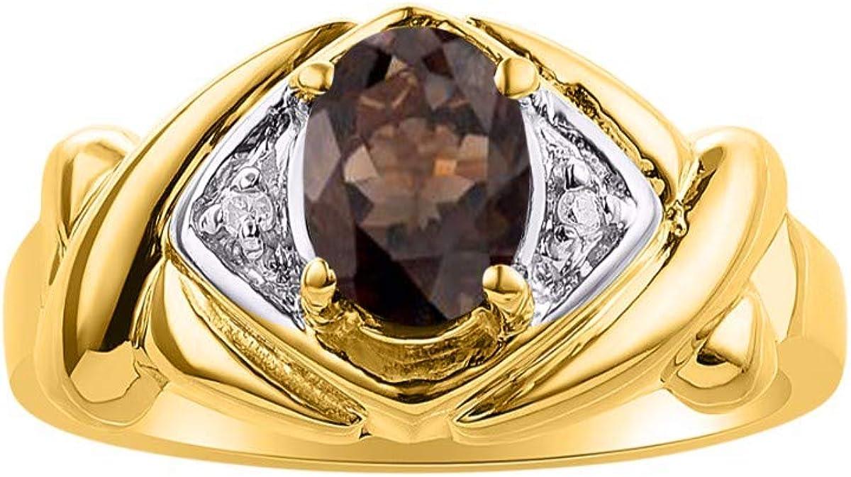RYLOS Simply Elegant Beautiful Smoky Quartz /& Diamond Ring June Birthstone