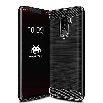 Funda Pocophone F1 Xiaomi 2018. Carcasa Protectora de Silicona Dura, Antigolpes, Antirayaduras, con Acabado en Fibra de Carbono, Negra