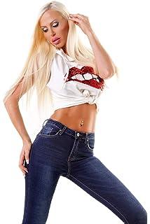 ce760288b08f OSAB-Fashion 4498 Lange Damen Jeans Hose Eng Fransen Damenjeans Röhrenjeans