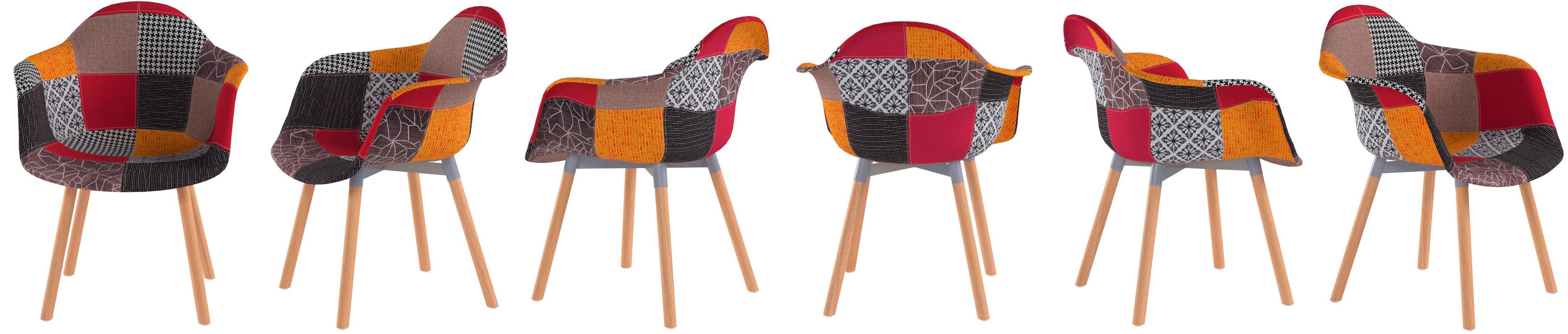 ts-ideen 1 x Design Patchwork Fauteuil Chaise de Cuisine avec des Morceaux de Tissu tach/é Jean Bleu