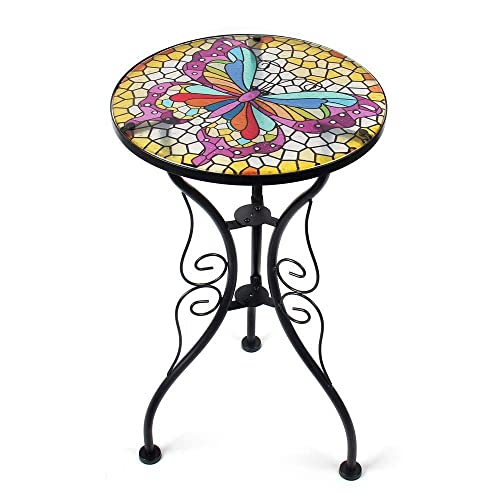 Liffy Outdoor Mosaic Side Table Butterfly Bench Small Patio Round Printed Glass Table for Garden, Yard or Lawn