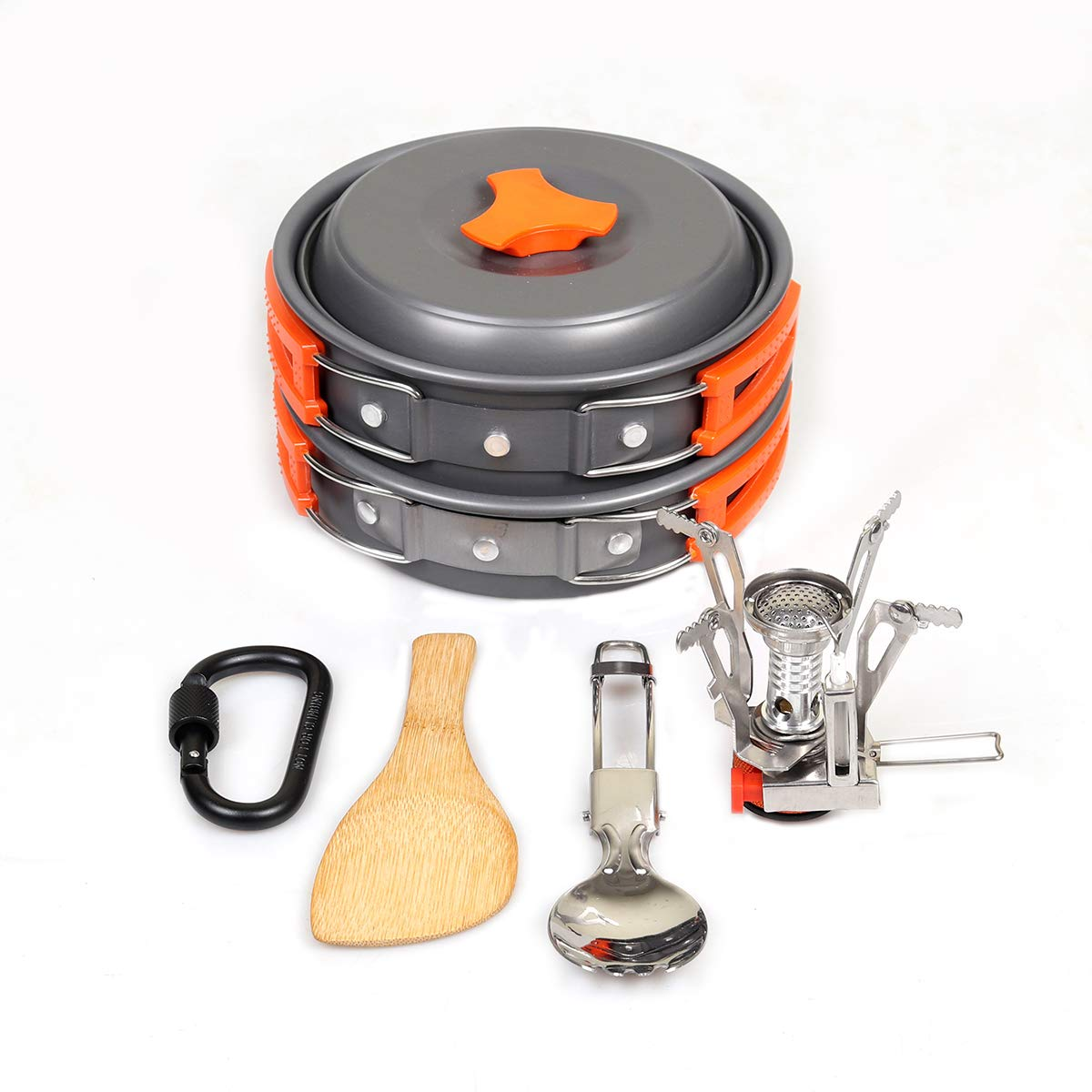 Goetland Camping Cookware Mess Kit Backpacking Cookset Outdoor Hiking Picnic Non-Stick Cooking Pan Folding Spork Nylon Bag