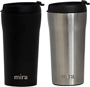 MIRA 12 oz Stainless Steel Insulated Travel Mug for Coffee & Tea | Vacuum Insulated Car Tumbler Cup with Spill Proof Twist On Flip Lid | Thermos Keeps Drinks Steaming Hot or Ice Cold | 2 Pack