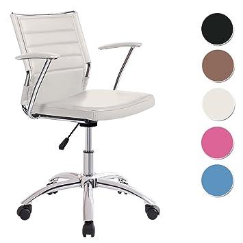 Silla oficina estudio Life tapizado similpiel Blanca: Amazon.es: Hogar