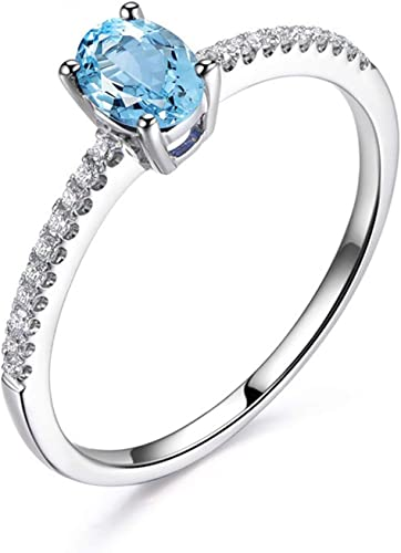 AMDXD Jewellery 925 Sterling Silver Engagement Rings Womens Oval Cut Cubic Zirconia Oval Shape Ring