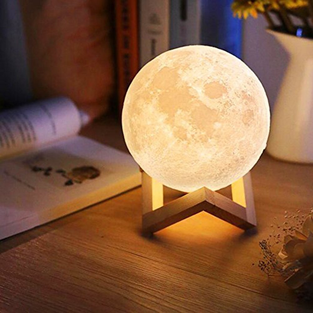 3D Moon Light Bedroom Night Light USB Touch Home Moon Lamp Two Color Change Bedside Lamps Children\'s Girl Valentine\'s Gifts(10cm)