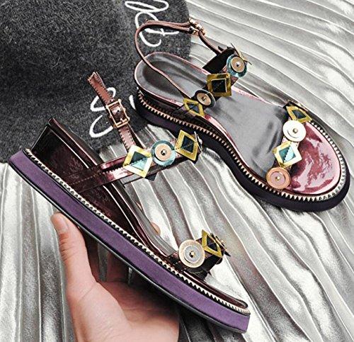 PBXP OL sandali colore incantesimo Peep Toe cinghie cinghie fibbia metallo decorazione metallo outson antiscivolo Edizione limitata scarpe casuali dimensioni UE 33-41 , wine red , 41