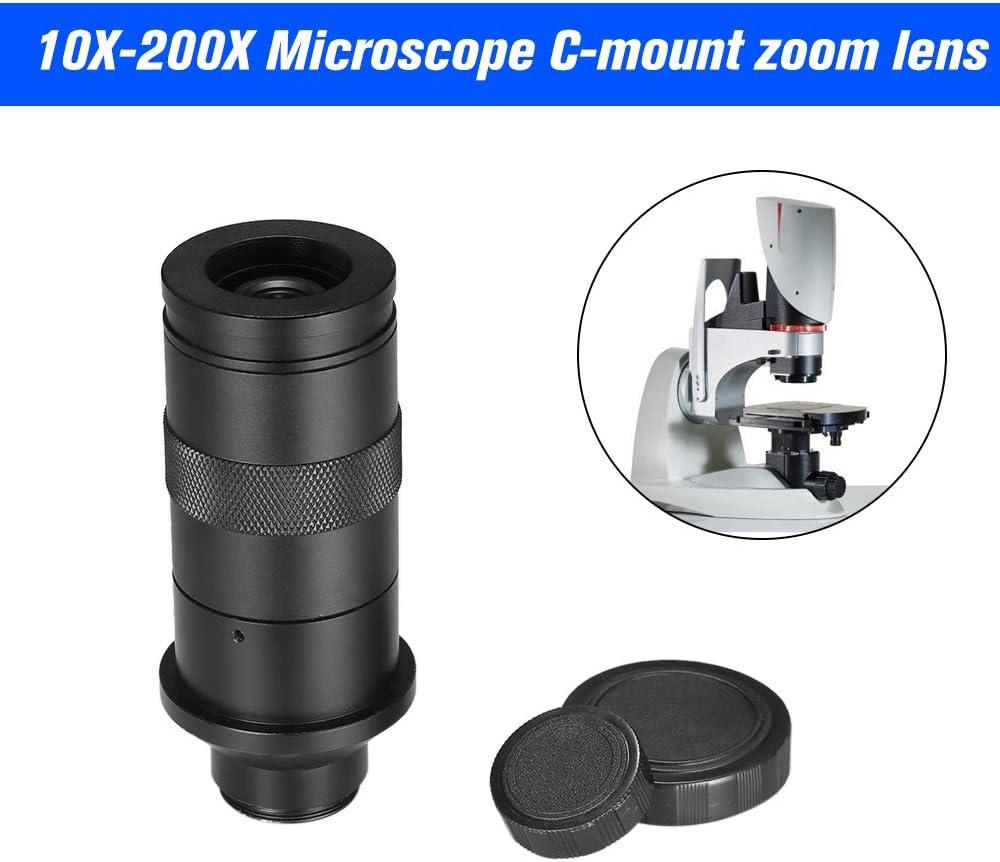 Owsoo Ccd Industrie Mikroskop Kamera C Mount Objektiv 10 200x Kamera Vergrößerung Verstellbar 25 Mm Zoom Okular Lupe Industrie Objektiv Für Lab Pcb Baumarkt