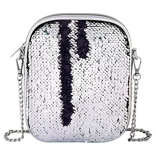 HDE Sequin Shoulder Bag Phone Purse with Chain