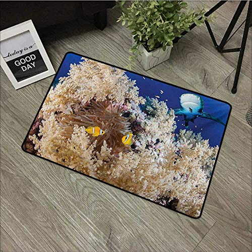 Refresh Reef - Pool Anti-Slip Door mat W31 x L47 INCH Shark,Reef with Little Clown Fish and Sharks East Egyptian Red Sea Life Scenery Food Chain,Blue Cream Non-Slip Door Mat Carpet