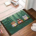 HomeCreator 18 x 30 Inch Funny Forest Owl Door Mats Kitchen Floor Bath Entrance Rug Mat Absorbent Indoor Bathroom Decor Doormats Rubber Non Slip