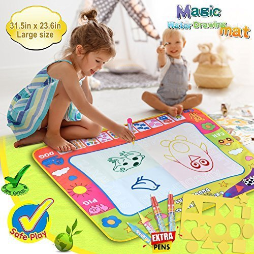 Large Doodle Mat Toddler Toys Magic Water Drawing Mat Toddlers Painting with 4 Pens 8 Molds for kids  Writing Mats Boys Girls Educational Learning Gift Size 31.5'' X 23.6'' by SPCEUTOH