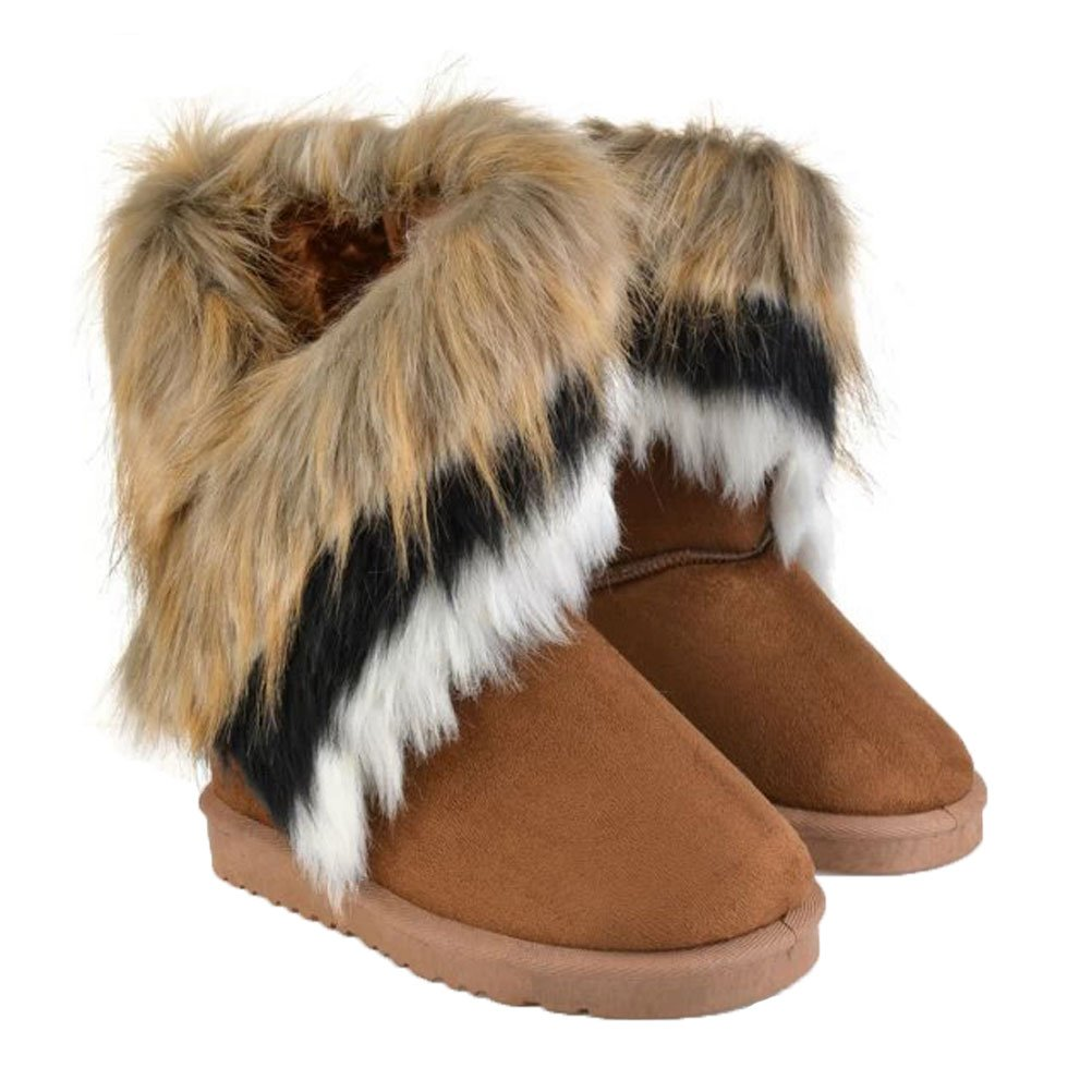 Donalworld Womens Warm Suede Ankle Boots Fur Tassel Flat Shoes Br1 CN 36