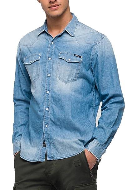 REPLAY Camicia in Jeans Uomo: Amazon.it: Abbigliamento