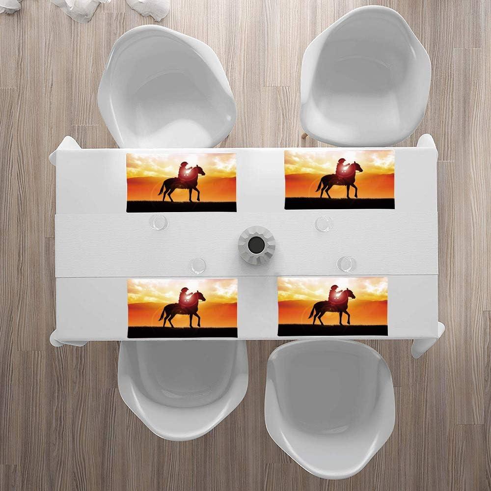 Juego de 4 Manteles Individuales,Western, silueta vaquero montando un caballo durante el vibrante atar,Lavables Resistentes al Calor Antideslizante Fácil de Limpiar y Impermeable Salvamanteles 30x45cm