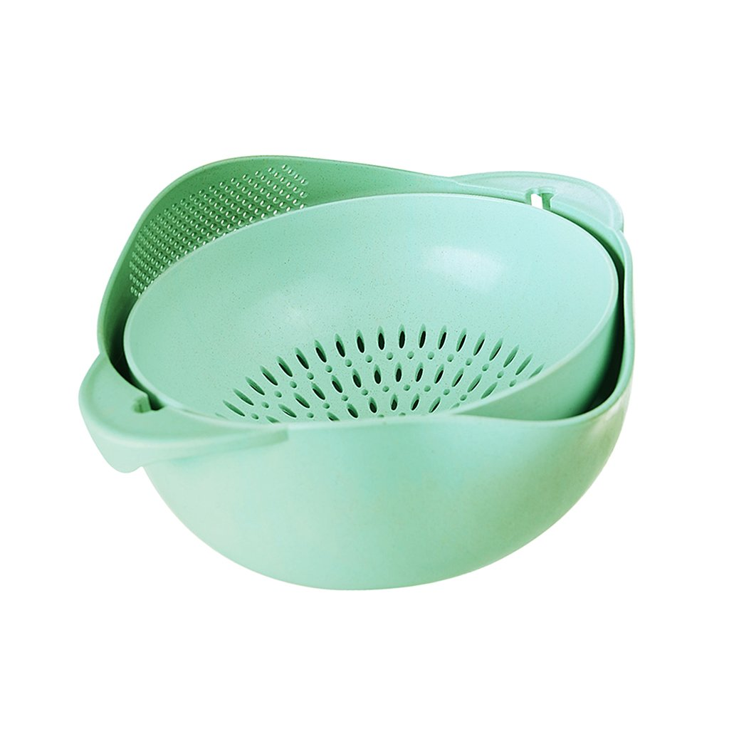 L-Green Foldable Wheat Straw Plastic Storage Baskets Washing Fruit Vegetable Draining Container Rotating Colanders