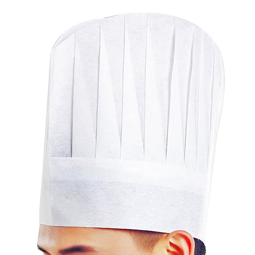 LEFV™ Chef Hat Professional Disposable White Paper Cooker Chef's 11.5 Inch Tall Hats for Home Kitchen Cooking Food Serve Restaurants Works, Set of 10