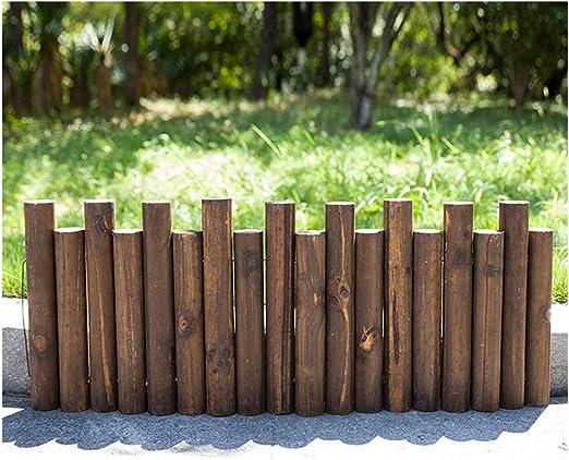 ZHANWEI Valla de jardín Bordura de jardín Decorativo Paisaje Decoración De Bordes Al Aire Libre Cama De Flores Madera Maciza Estacas Redondas, 8 Tamaños (Color : Brown, Size : 90x30/35cm): Amazon.es: Jardín