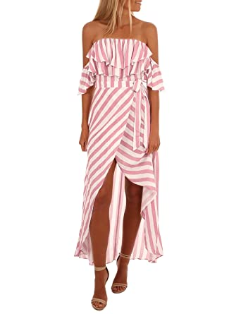 ddab7a4540 Amazon.com  Blooming Jelly Womens Off Shoulder Strapless Ruffle Striped Hi  Low Maxi Summer Dress with Belt  Clothing