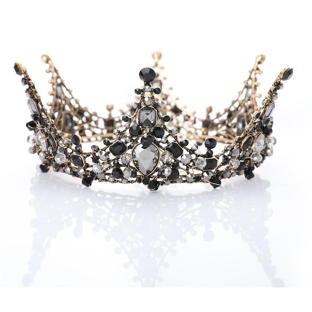 Chicer Vintage Baroque Crown Tiara Wedding Rhinestone Queen Tiara Accessories for Women and Girls . (Style B)