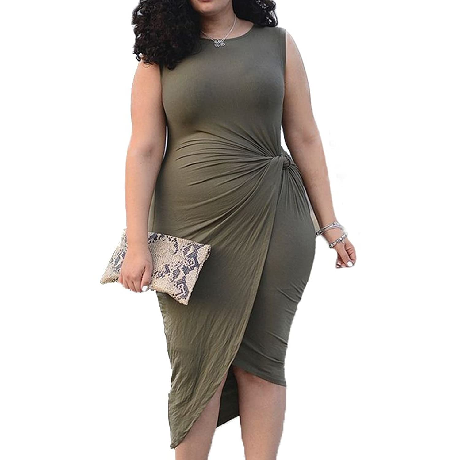 RedExtend ArmyGreen Sleeveless Side Wrap Ruched Party Swing Prom Dress