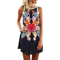 Gaddrt Dress Women's Ladies Summer Sleeveless Halter Neck Floral Print Casual Mini Dress