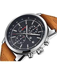 Men's Fashion Business Quartz Watch with Brown Leather Strap Chronograph Waterproof Date Display Analog Sport...