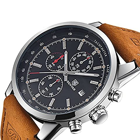 FOVICN Men's Fashion Business Quartz Watch with Brown Leather Strap Chronograph Waterproof Date Display Analog Sport Wrist Watches, (Mens Strap Watches)