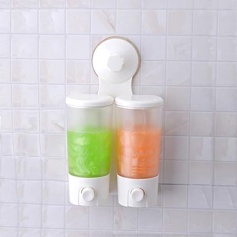 SUPOW Wall Soap U0026 Shower Dispenser, Hand Pressure Double Suction Soap  Dispenser Hand Push Liquid Soap ...