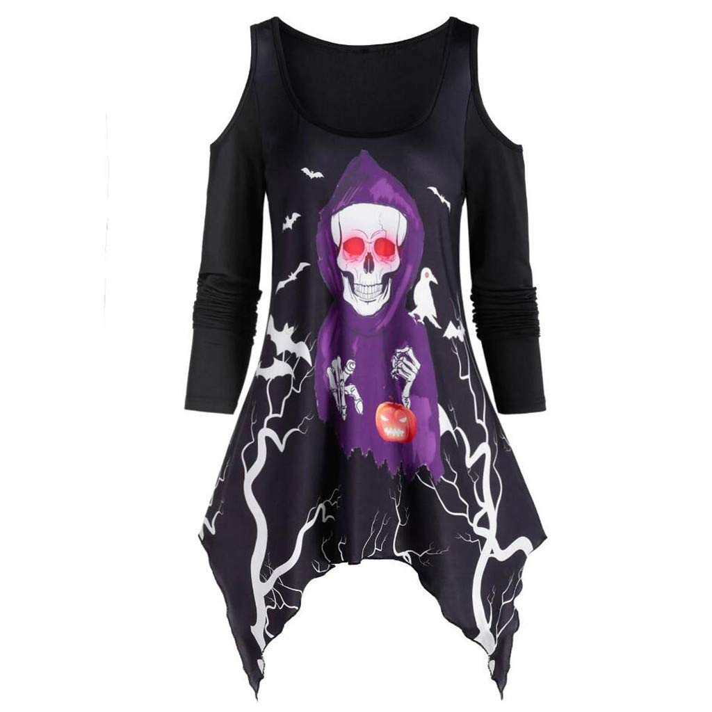 ✦HebeTop✦ Women's Pullover Casual Off The Shoulder Slouchy Sweatshirt Skull Print Long Sleeve Irregular T-Shirt Blouse Black by HebeTop➟Women's Clothing