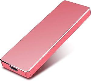 Portable 1TB External Hard Drive - Hard Drive External USB3.1 HDD for Mac Laptop PC (2TB, Red)