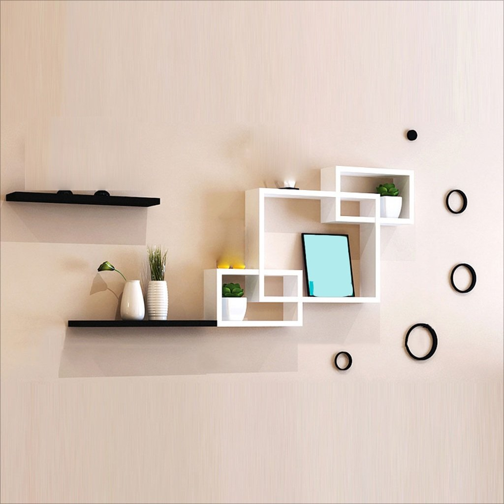 ZH Shower Caddies Modern Wall Rack Free Punch Wall Hanging Living Room Bedroom TV Background Wall Decorative Wall Creative Simple Lattice Bookshelf Bedroom Partition Wall Cabinet
