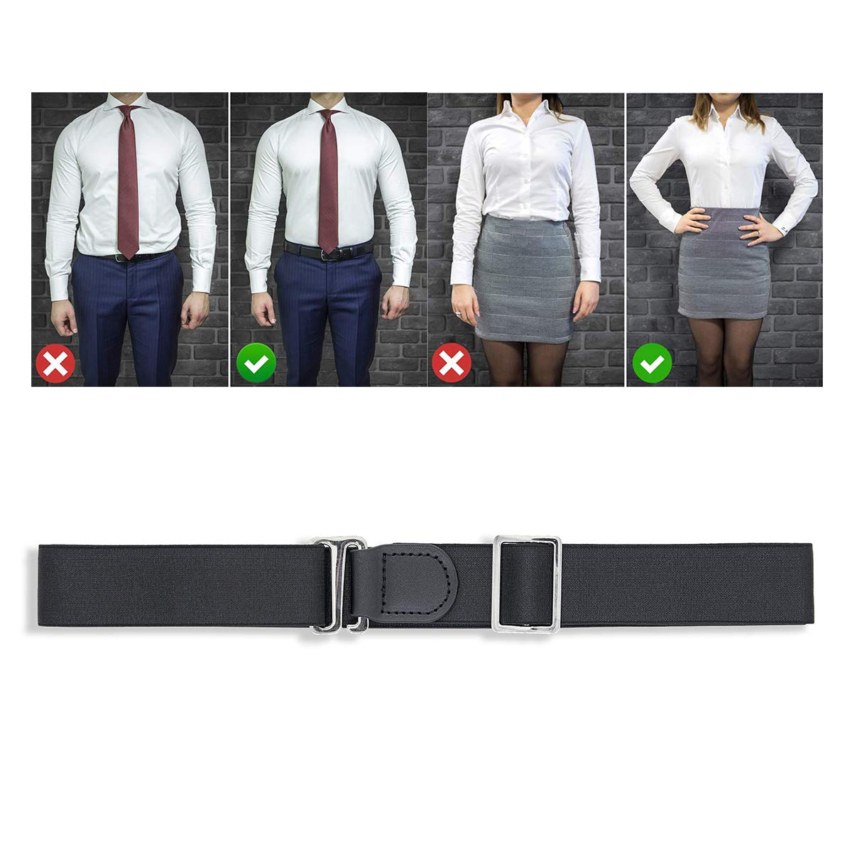 Shirt Stays Belt MLM Belt for Formal and Professional Attire Keeps Shirt Tucked in