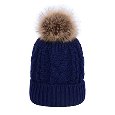 3eceef50d6a Youngsoul Women s Cable Knit Beanie Winter Fleece Lined Bobble Hats with  Detachable Faux Fur Pom Pom