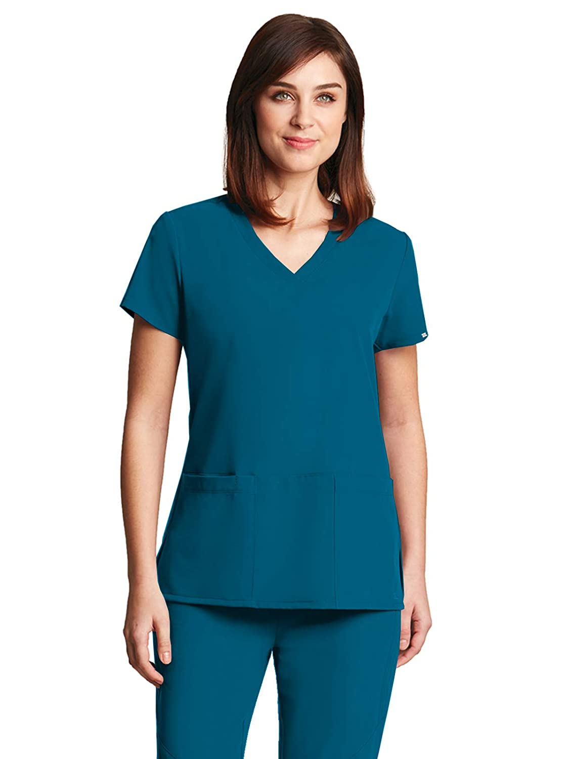 aac1a48237e Clean lines give the Signature Series by Grey\'s Anatomy Women\'s V-Neck  Scrub Top a polished look. Plenty of stretch and a hidden cell phone offer  the ...