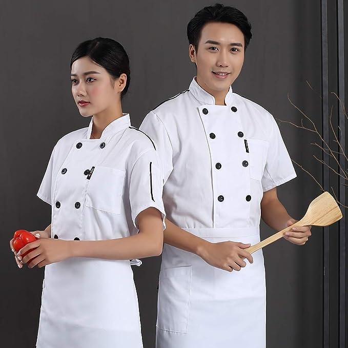Surrui Veste de Cuisine Uniforme Homme et Femme Manches Courtes Manteau de Chef Cuisinier Blouse avec Poche Rouge Taille Asiatique 2XL