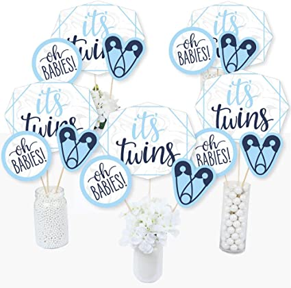 Amazon Com It S Twin Boys Blue Twins Baby Shower Centerpiece Sticks Table Toppers Set Of 15 Toys Games
