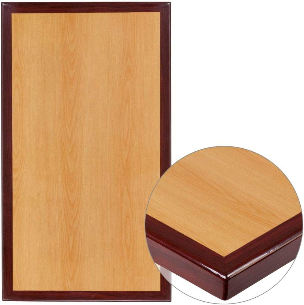 "Flash Furniture 24"" x 30"" Rectangular 2-Tone High-Gloss Cherry Resin Table Top with 2"" Thick Mahogany Edge"