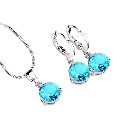 3fc28946905b CARSINEL Oro Blanco Mujer Chapado en circonita Solitario circonita  Pendientes del Collar de la Azul